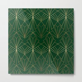 Art Deco in Gold & Green Metal Print