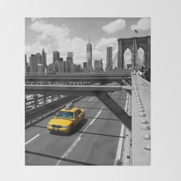 Yellow Cab on Brooklyn Bridge Throw Blanket