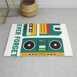 Never Forget Tape Floppy Disk Boom Box Rug