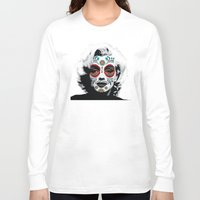 marylin monroe Long Sleeve T-shirts featuring Marylin de los Muertos 4 by jazzyjules63