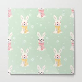 White rabbit Christmas pattern 001 Metal Print