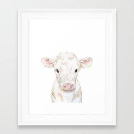 Baby White Cow Calf Watercolor Farm Animal Framed Art Print