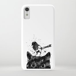Peeking cat and Magpie iPhone Case