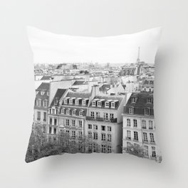 Paris in Black and White, Rooftops Throw Pillow
