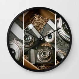 Old retro rangefinder cameras in box Wall Clock