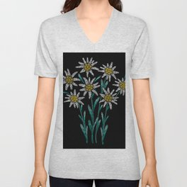 Embroidered Flowers on Black 02 Unisex V-Neck