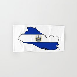 El Salvador Map with Salvadoran Flag Hand & Bath Towel