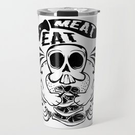 A Unique Detailed Skull Tee For Yourself? Here's An Awesome T-shirt Saying Meat Eat Knife Meaty Travel Mug