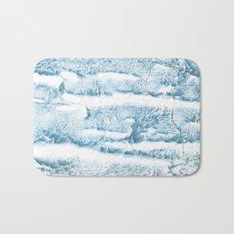 Blue marble streaked wash drawing Bath Mat
