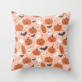 Pumpkin Party on Blush Pink Throw Pillow