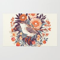 bird Area & Throw Rugs featuring Wren Day by Teagan White