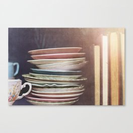 Vintage teacups, saucers and books Canvas Print