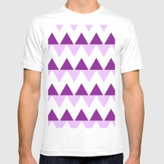 Triangle Chevron; Purple MEDIUM White Mens Fitted Tee