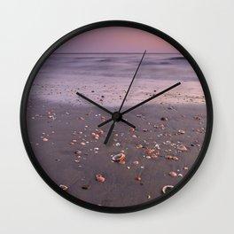 The Beach Of The Shells. Purple sunset Wall Clock