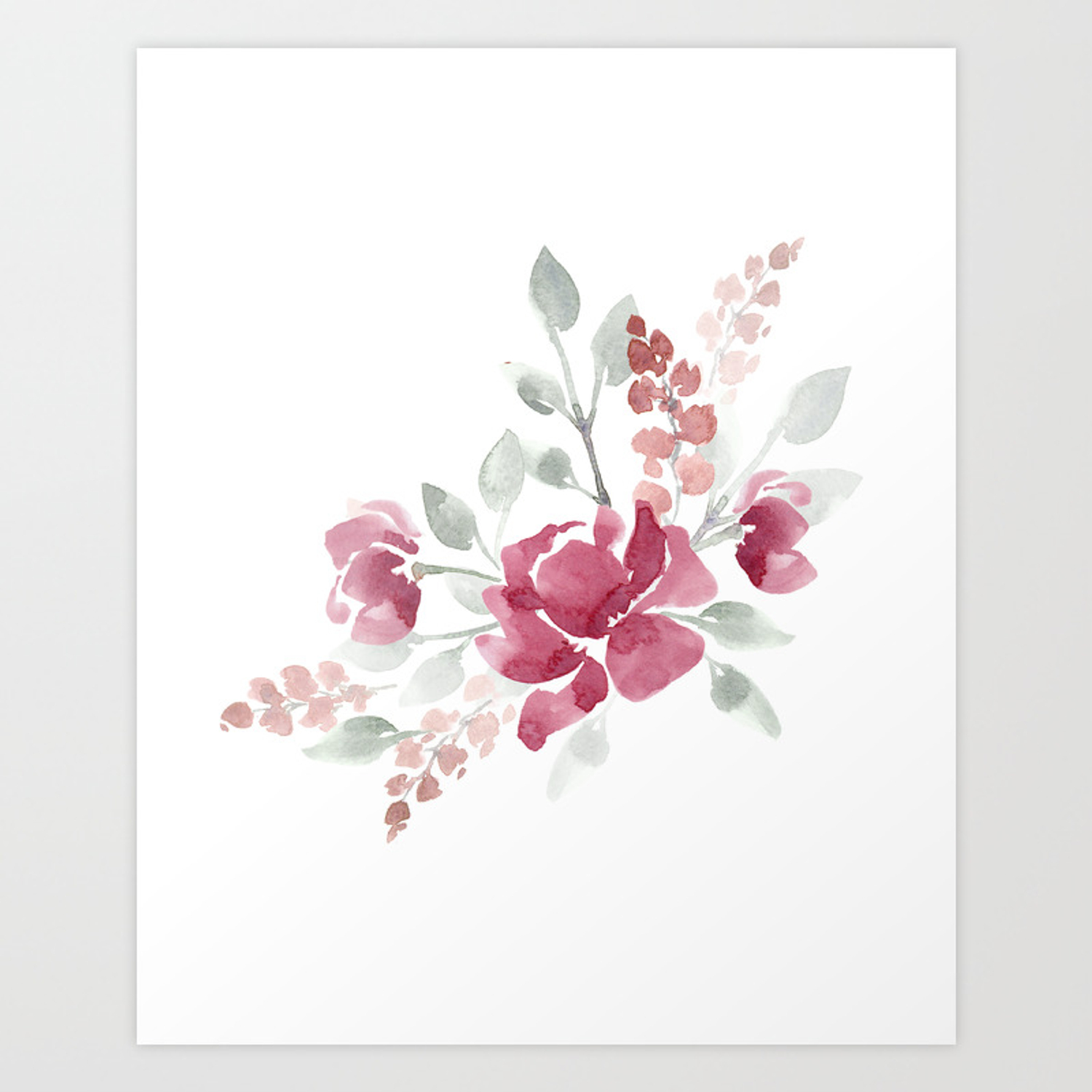 Burgundy Watercolor Floral Art Print By Katrinacrouch Society6