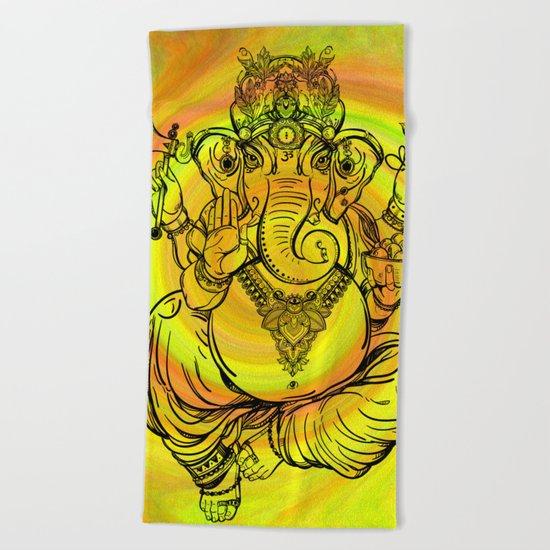 Lord Ganesha on Yellow Spiral Beach Towel