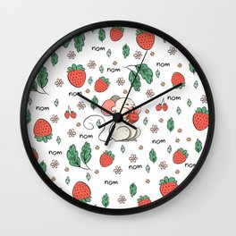 Strawberries nom nom Wall Clock