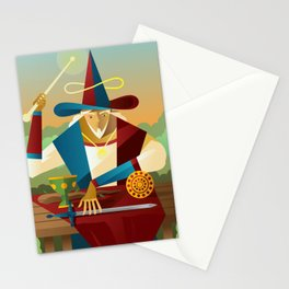 magician juggler with cup, wooden staff, sword and gold tarot card Stationery Cards