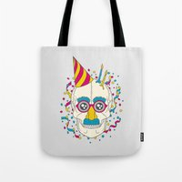 happy birthday Tote Bags featuring Happy Birthday by John Tibbott