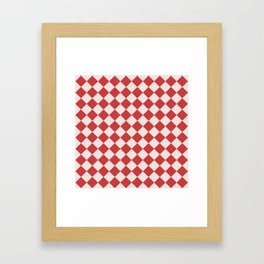 Red and White Checkered Diamond Pattern Framed Art Print