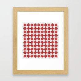 Red and White Checkered Diamond Pattern Framed Art Print