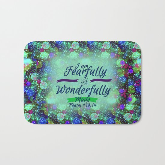 FEARFULLY AND WONDERFULLY MADE Floral Christian Typography God Bible Scripture Jesus Psalm Abstract Bath Mat
