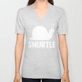 Snurtle Cute Sluggish Silhouette Unisex V-Neck