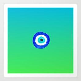 Single Evil Eye Amulet Talisman Ojo Nazar - ombre lime to tuquoise Art Print