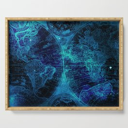 Antique World Star Map in Space Navy Blue Serving Tray