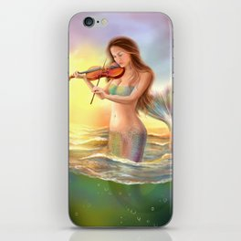Beautiful woman fantasy mermaid plays on violin on sunset iPhone Skin