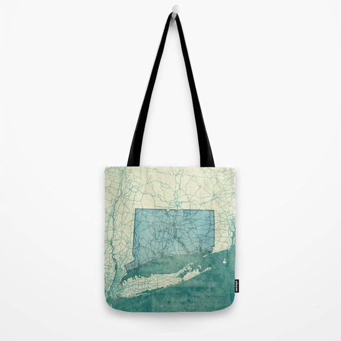 Connecticut State Map Blue Vintage Tote Bag