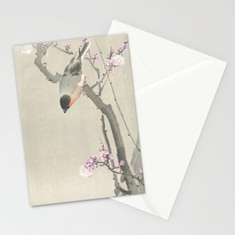 Bird Sitting on a Blossomed Peach Tree - Vintage Japanese Woodblock Print Art Stationery Cards