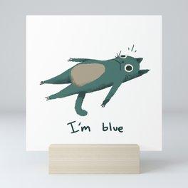 Sad Blue Cat Mini Art Print
