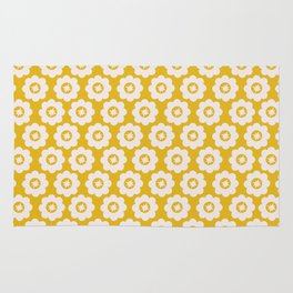 Canary Yellow Retro Floral Rug