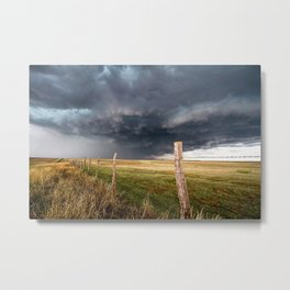 Soft - Storm Along Fence Line in Texas Panhandle Metal Print