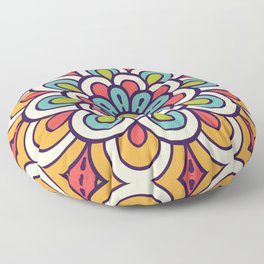 Mandala, Colorful Abstract Flower Floor Pillow