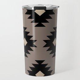 Southwestern Pattern 523 Black and Beige Travel Mug