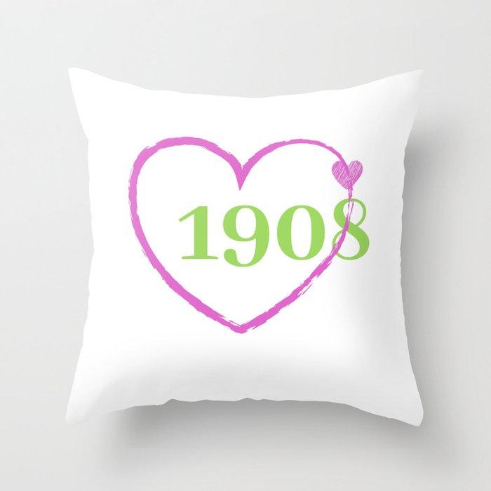 1908 Heart Throw Pillow