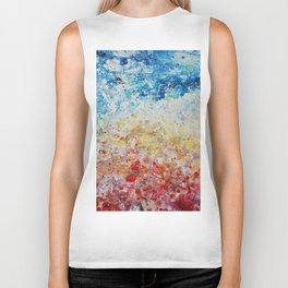 sunset abstract painting Biker Tank