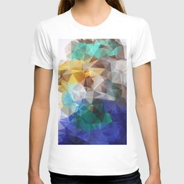 Abstract background of triangles polygon print. Bright design colors T-shirt