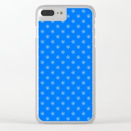 White on Brandeis Blue Snowflakes Clear iPhone Case