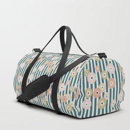 Delicate flowers on stripes Duffle Bag