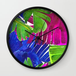 Colorful tropical leaves Wall Clock