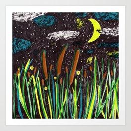 Summer Cattails Art Print
