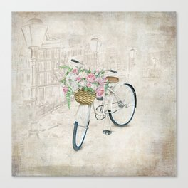 Vintage bicycles with roses basket Canvas Print