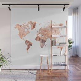 peach marble map Wall Mural