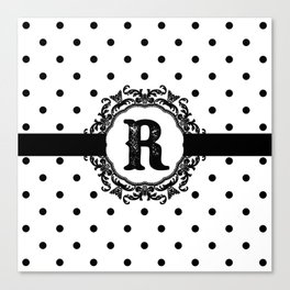 Black Monogram: Letter R Canvas Print