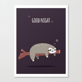 Sloth card - good night Canvas Print