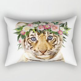 Baby Tiger With Flower Crown, Baby Animals Art Print By Synplus Rectangular Pillow