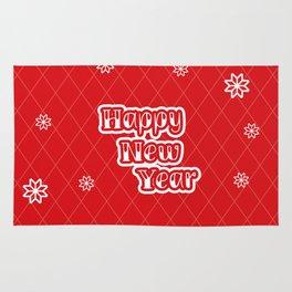 Happy holiday, Christmas sign with snow flake and christmas decoration Rug